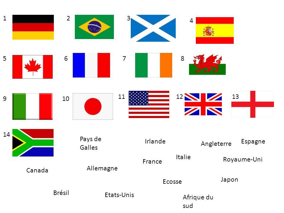 Allemagne Ecosse Brésil Angleterre Canada Italie EspagneIrlande France Pays de Galles Etats-Unis Japon Royaume-Uni 12 57 3 12 68 910 4 1113 14 Afrique