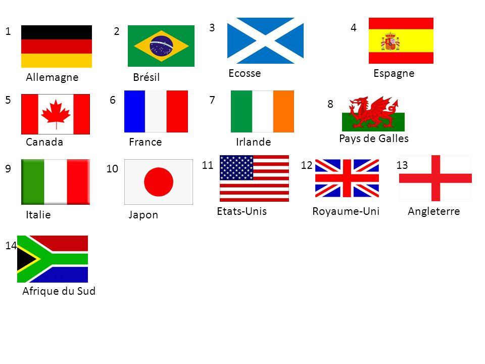 Allemagne Ecosse Brésil Angleterre Canada Italie Espagne IrlandeFrance Pays de Galles Etats-Unis Japon Royaume-Uni 12 57 3 12 6 8 910 4 1113 Afrique d