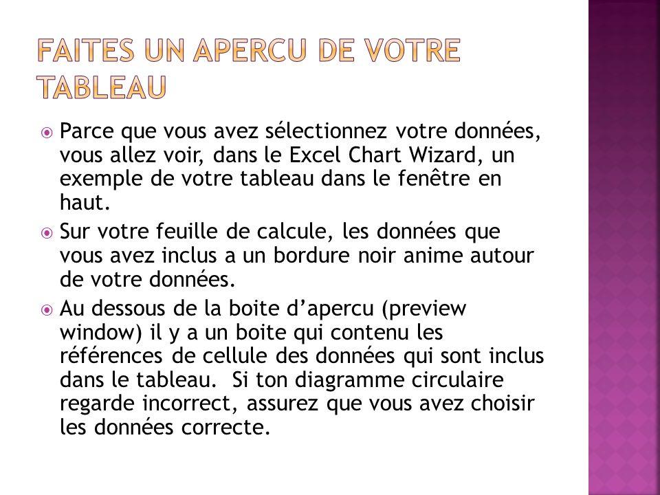  Parce que vous avez sélectionnez votre données, vous allez voir, dans le Excel Chart Wizard, un exemple de votre tableau dans le fenêtre en haut. 
