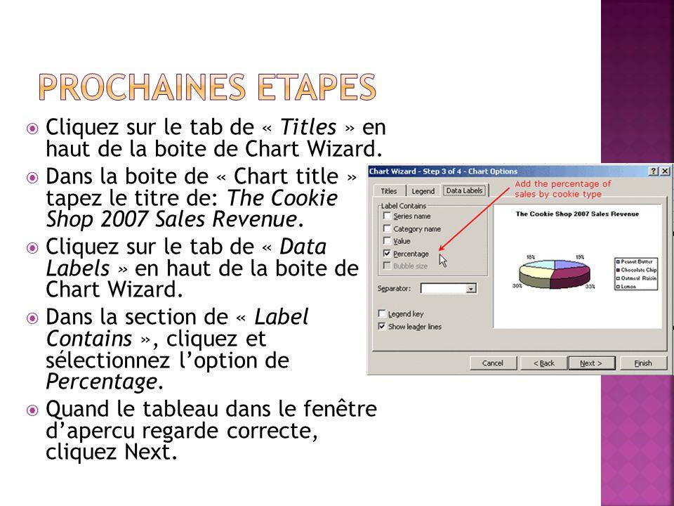  Cliquez sur le tab de « Titles » en haut de la boite de Chart Wizard.  Dans la boite de « Chart title » tapez le titre de: The Cookie Shop 2007 Sal