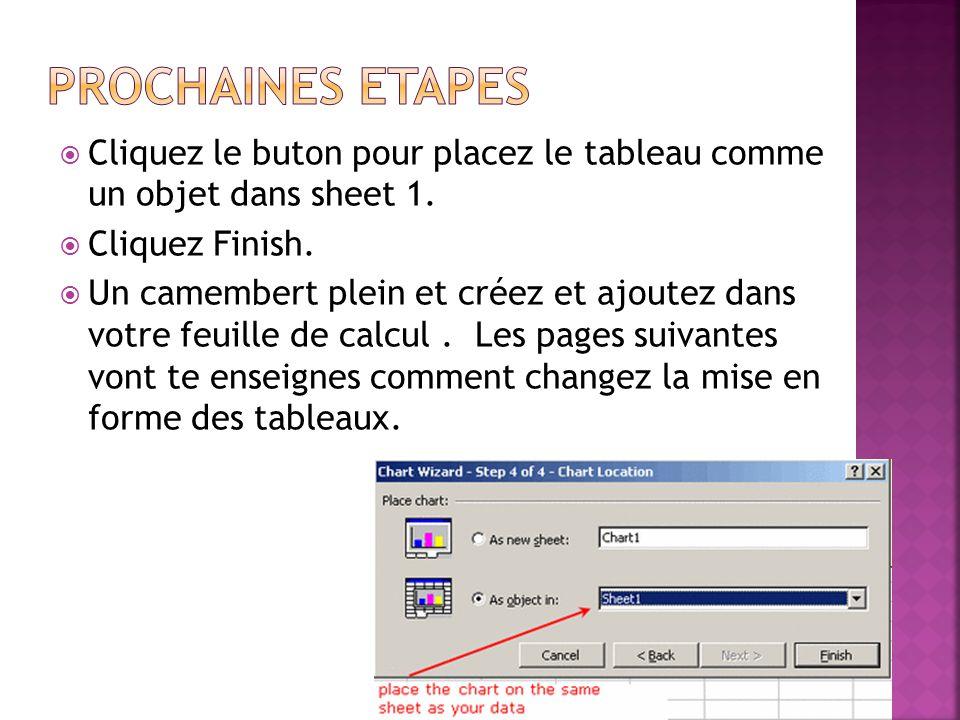  Cliquez le buton pour placez le tableau comme un objet dans sheet 1.  Cliquez Finish.  Un camembert plein et créez et ajoutez dans votre feuille d