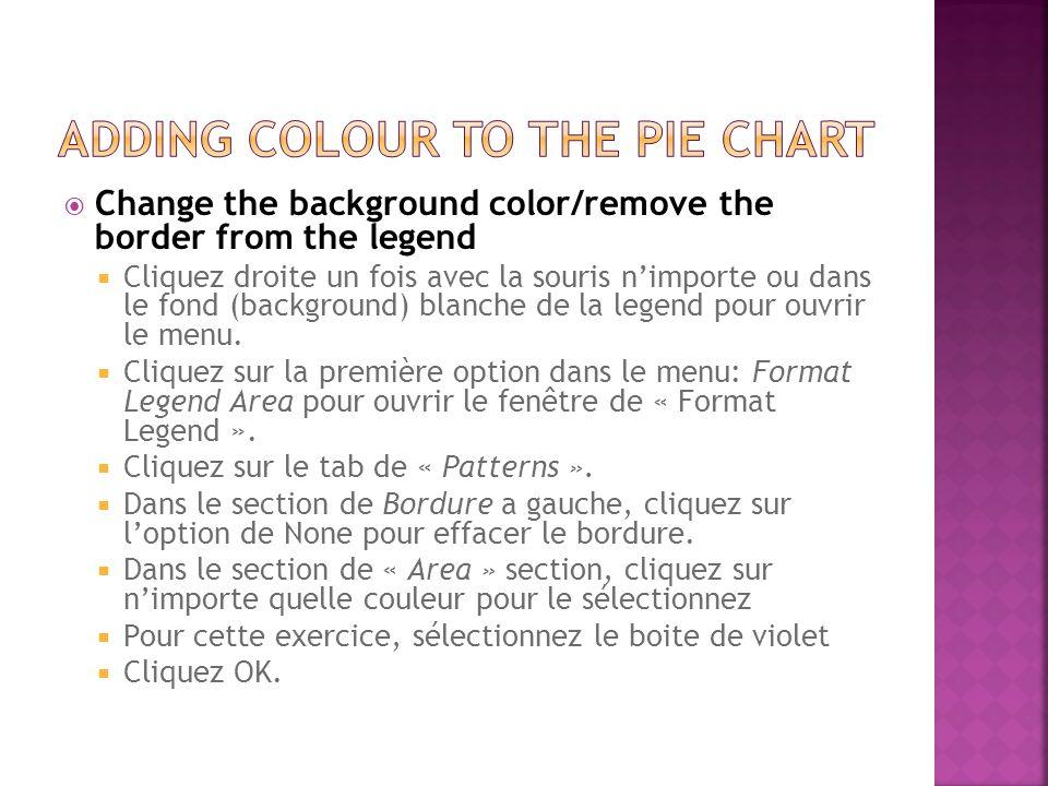  Change the background color/remove the border from the legend  Cliquez droite un fois avec la souris n'importe ou dans le fond (background) blanche de la legend pour ouvrir le menu.
