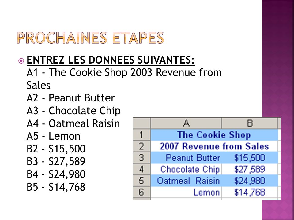  ENTREZ LES DONNEES SUIVANTES: A1 - The Cookie Shop 2003 Revenue from Sales A2 - Peanut Butter A3 - Chocolate Chip A4 - Oatmeal Raisin A5 - Lemon B2 - $15,500 B3 - $27,589 B4 - $24,980 B5 - $14,768