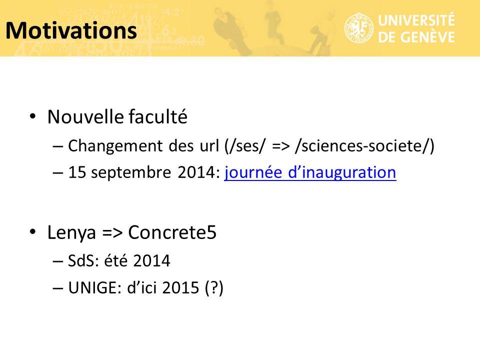 Nouvelle faculté – Changement des url (/ses/ => /sciences-societe/) – 15 septembre 2014: journée d'inaugurationjournée d'inauguration Lenya => Concret