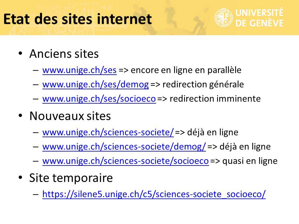 Anciens sites – www.unige.ch/ses => encore en ligne en parallèle www.unige.ch/ses – www.unige.ch/ses/demog => redirection générale www.unige.ch/ses/de