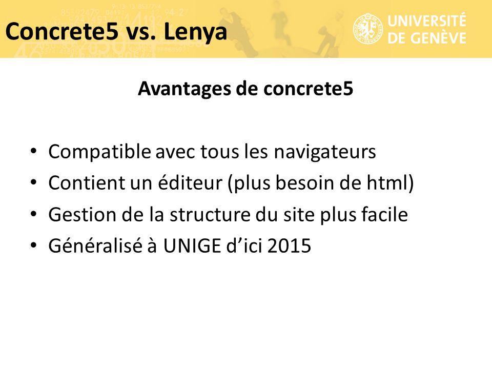 Avantages de concrete5 Compatible avec tous les navigateurs Contient un éditeur (plus besoin de html) Gestion de la structure du site plus facile Géné