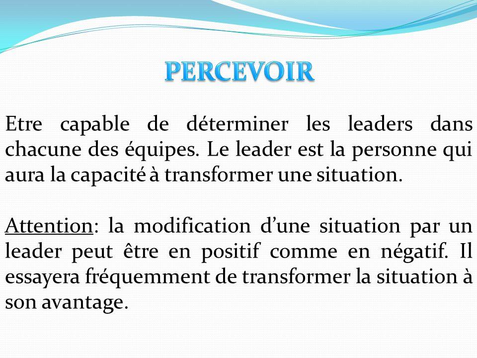 Etre capable de déterminer les leaders dans chacune des équipes. Le leader est la personne qui aura la capacité à transformer une situation. Attention