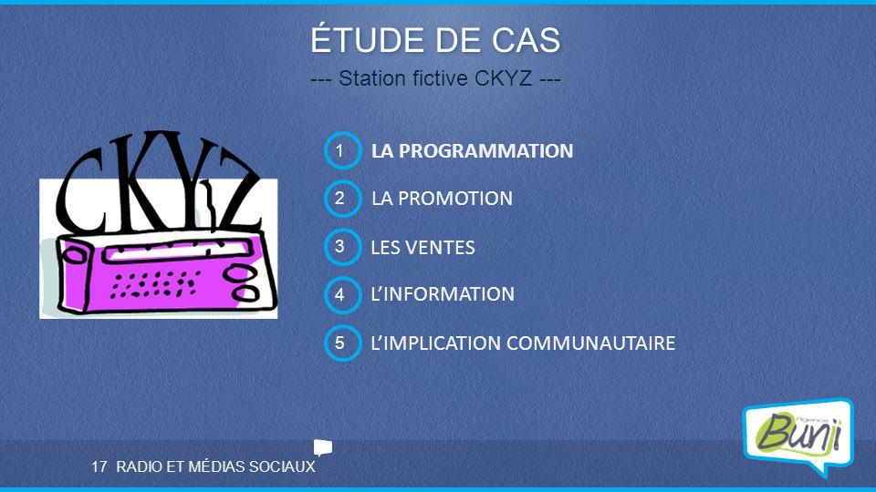 ÉTUDE DE CAS --- Station fictive CKYZ --- 2 LA PROMOTION 3 LES VENTES 4 L'INFORMATION 5 L'IMPLICATION COMMUNAUTAIRE 1 LA PROGRAMMATION 17