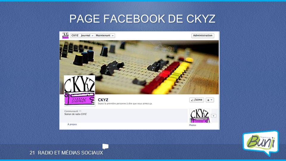 RADIO ET MÉDIAS SOCIAUX PAGE FACEBOOK DE CKYZ 21
