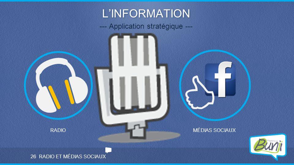 RADIO ET MÉDIAS SOCIAUX L'INFORMATION --- Application stratégique --- RADIOMÉDIAS SOCIAUX 26