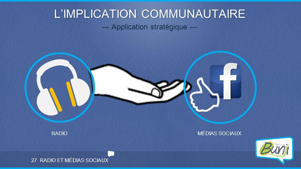RADIO ET MÉDIAS SOCIAUX L'IMPLICATION COMMUNAUTAIRE --- Application stratégique --- RADIOMÉDIAS SOCIAUX 27