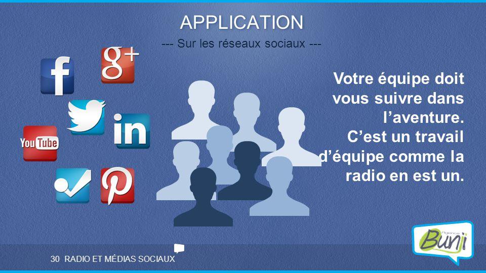 RADIO ET MÉDIAS SOCIAUX APPLICATION --- Sur les réseaux sociaux --- Votre équipe doit vous suivre dans l'aventure. C'est un travail d'équipe comme la