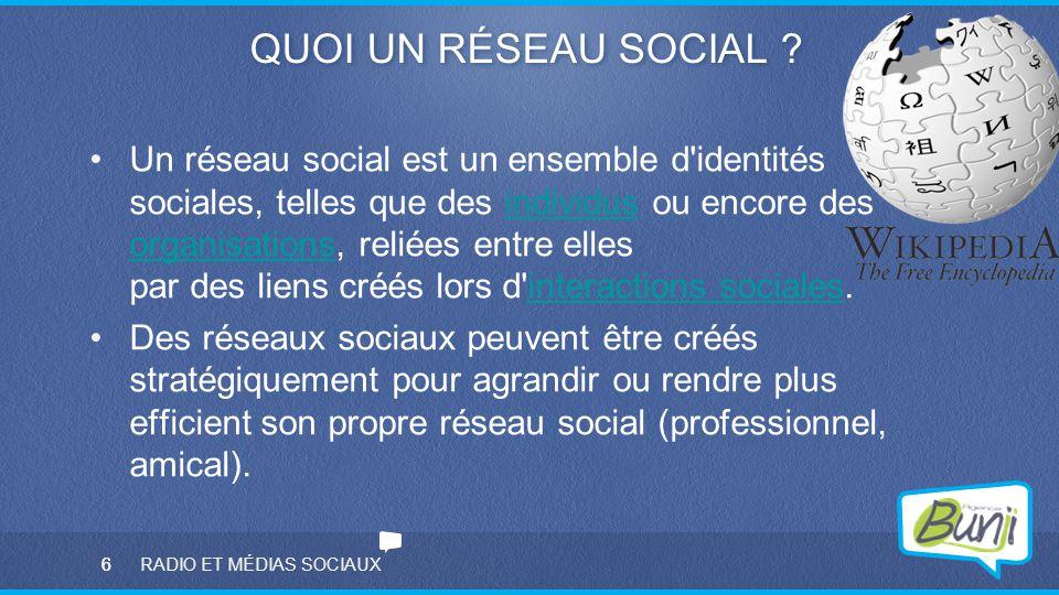 6 RADIO ET MÉDIAS SOCIAUX QUOI UN RÉSEAU SOCIAL ? Un réseau social est un ensemble d'identités sociales, telles que des individus ou encore des organi