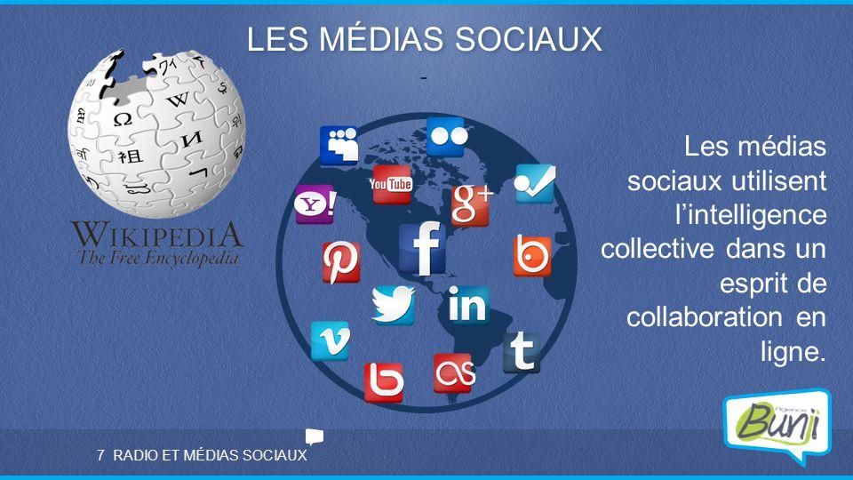 RADIO ET MÉDIAS SOCIAUX LES MÉDIAS SOCIAUX - 7 Les médias sociaux utilisent l'intelligence collective dans un esprit de collaboration en ligne.