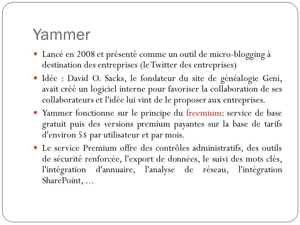 Yammer Lancé en 2008 et présenté comme un outil de micro-blogging à destination des entreprises (le Twitter des entreprises) Idée : David O.