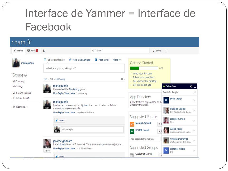 Interface de Yammer = Interface de Facebook