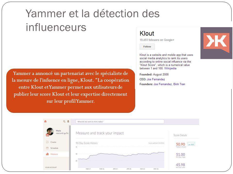 Yammer et la détection des influenceurs Yammer a annoncé un partenariat avec le spécialiste de la mesure de l infuence en ligne, Klout.