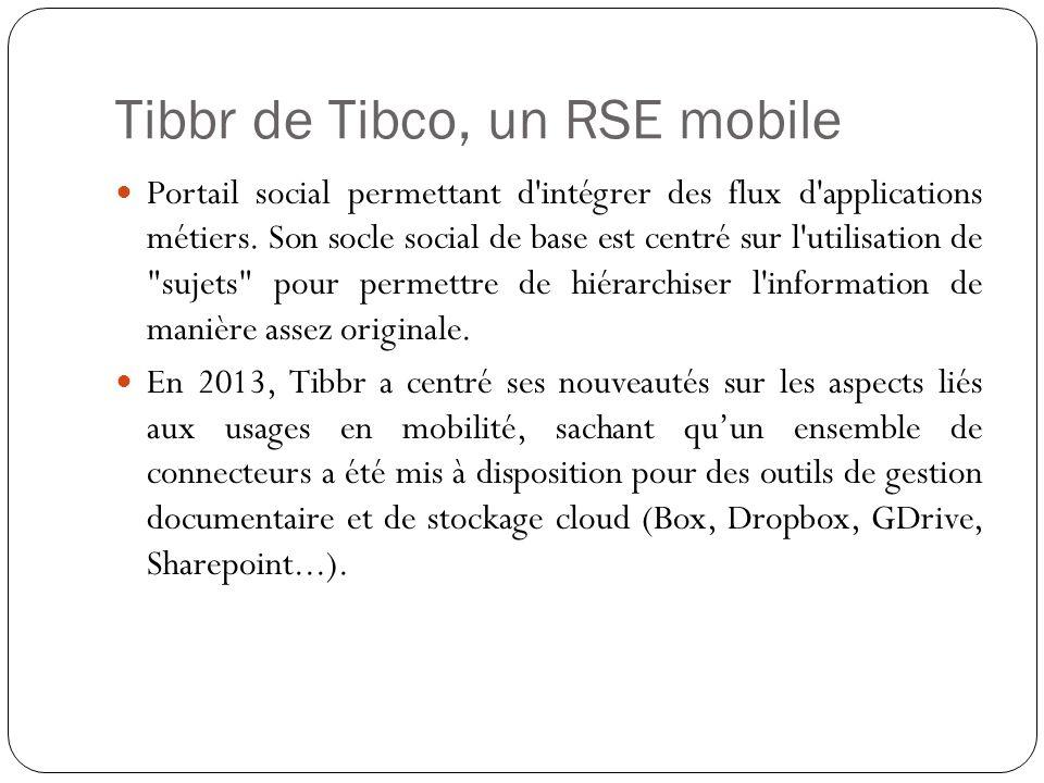 Tibbr de Tibco, un RSE mobile Portail social permettant d intégrer des flux d applications métiers.