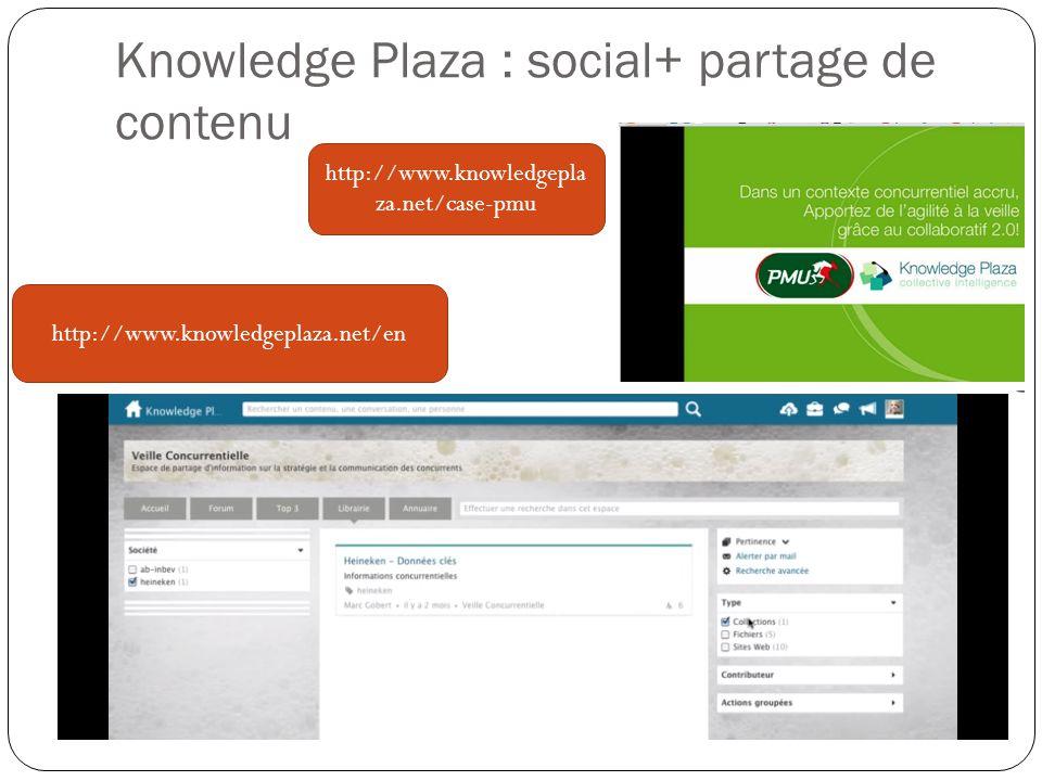 Knowledge Plaza : social+ partage de contenu http://www.knowledgeplaza.net/en http://www.knowledgepla za.net/case-pmu