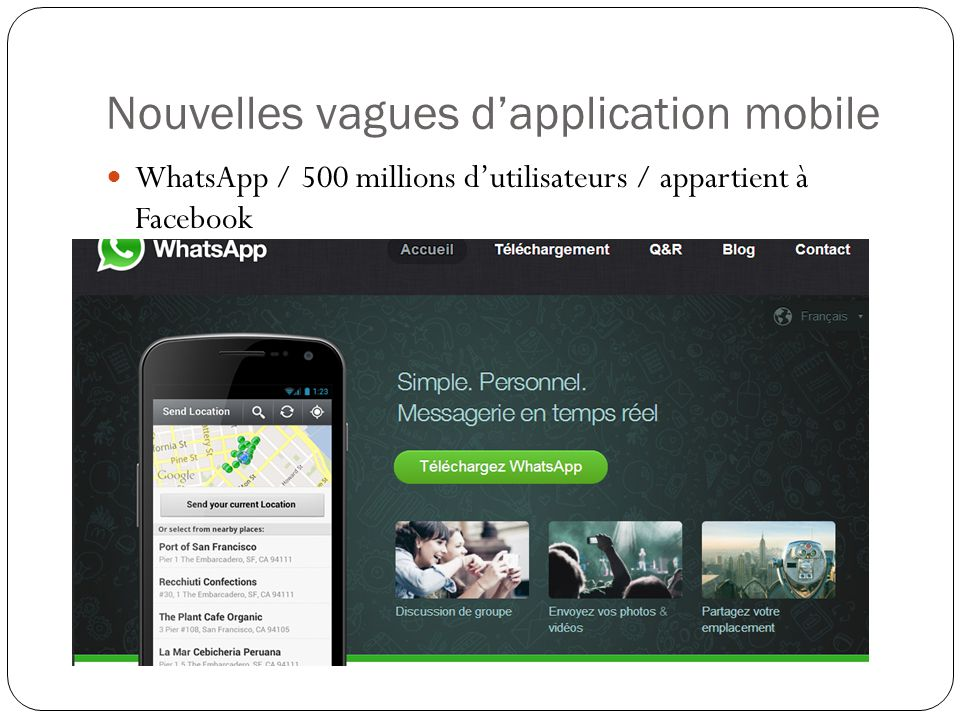 Nouvelles vagues d'application mobile WhatsApp / 500 millions d'utilisateurs / appartient à Facebook