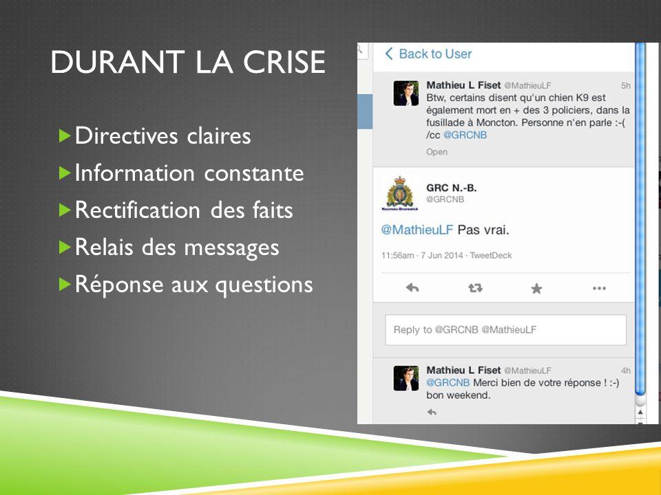 DURANT LA CRISE  Directives claires  Information constante  Rectification des faits  Relais des messages  Réponse aux questions
