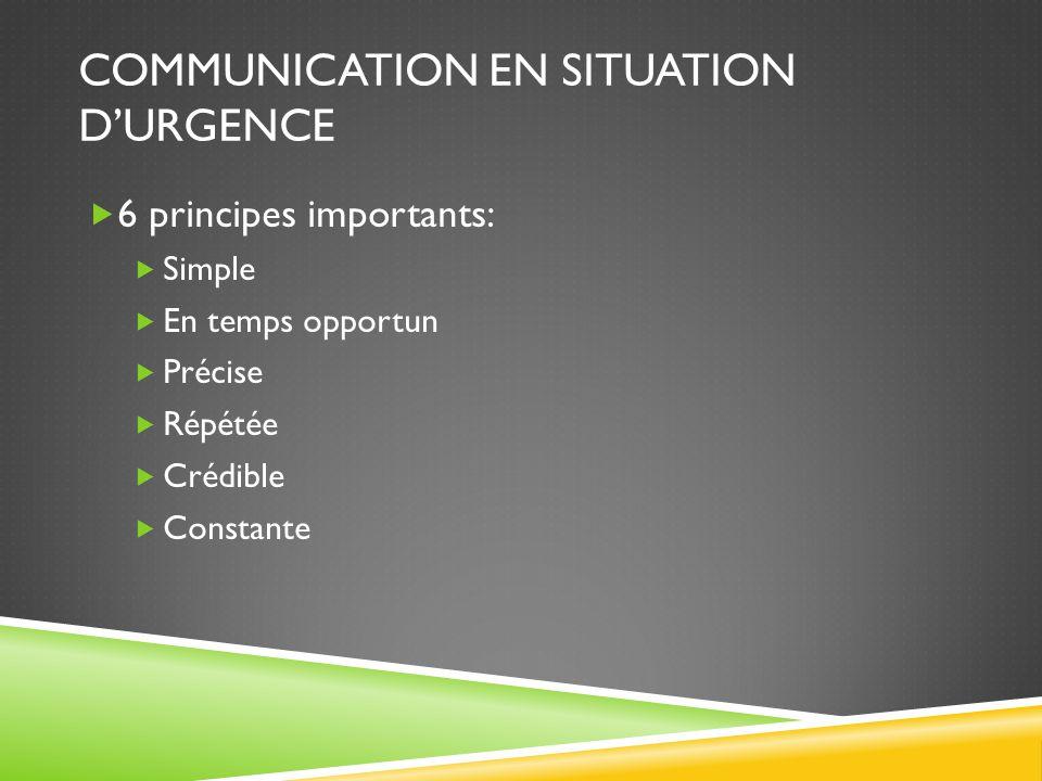 COMMUNICATION EN SITUATION D'URGENCE  6 principes importants:  Simple  En temps opportun  Précise  Répétée  Crédible  Constante