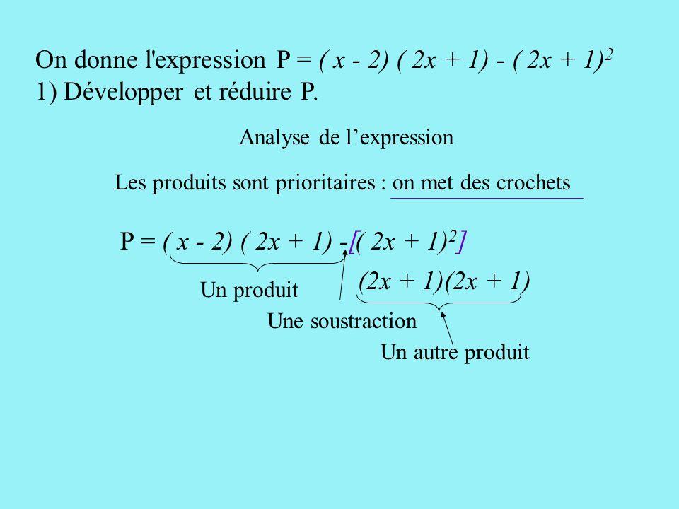 Polynésie 95 Soit P = ( x - 2) ( 2x + 1) - ( 2x + 1) 2. 1) Développer et réduire l'expression P. 2) Factoriser P. 3) Résoudre l'équation ( 2x + 1) ( x