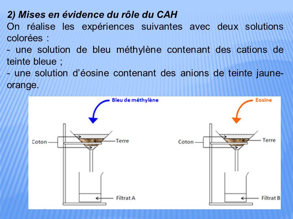 2) Mises en évidence du rôle du CAH On réalise les expériences suivantes avec deux solutions colorées : - une solution de bleu méthylène contenant des cations de teinte bleue ; - une solution d'éosine contenant des anions de teinte jaune- orange.