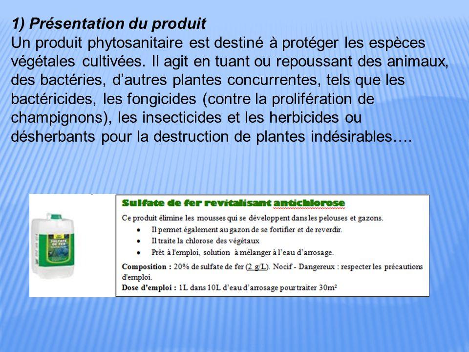 1) Présentation du produit Un produit phytosanitaire est destiné à protéger les espèces végétales cultivées.