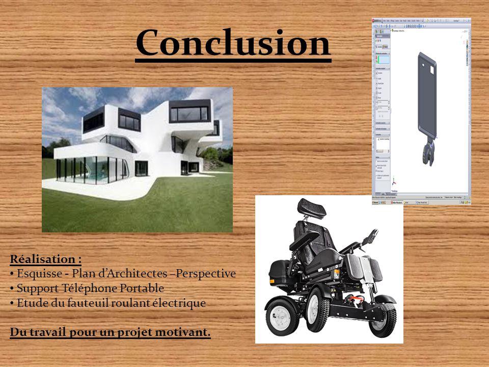 Conclusion Réalisation : Esquisse - Plan d'Architectes –Perspective Support Téléphone Portable Etude du fauteuil roulant électrique Du travail pour un