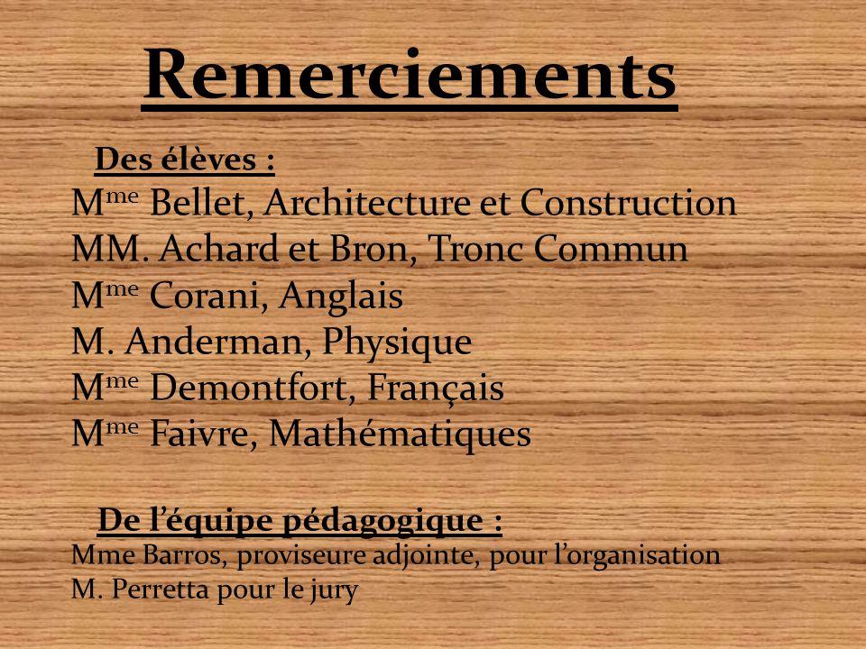 Remerciements M me Bellet, Architecture et Construction MM. Achard et Bron, Tronc Commun M me Corani, Anglais M. Anderman, Physique M me Demontfort, F
