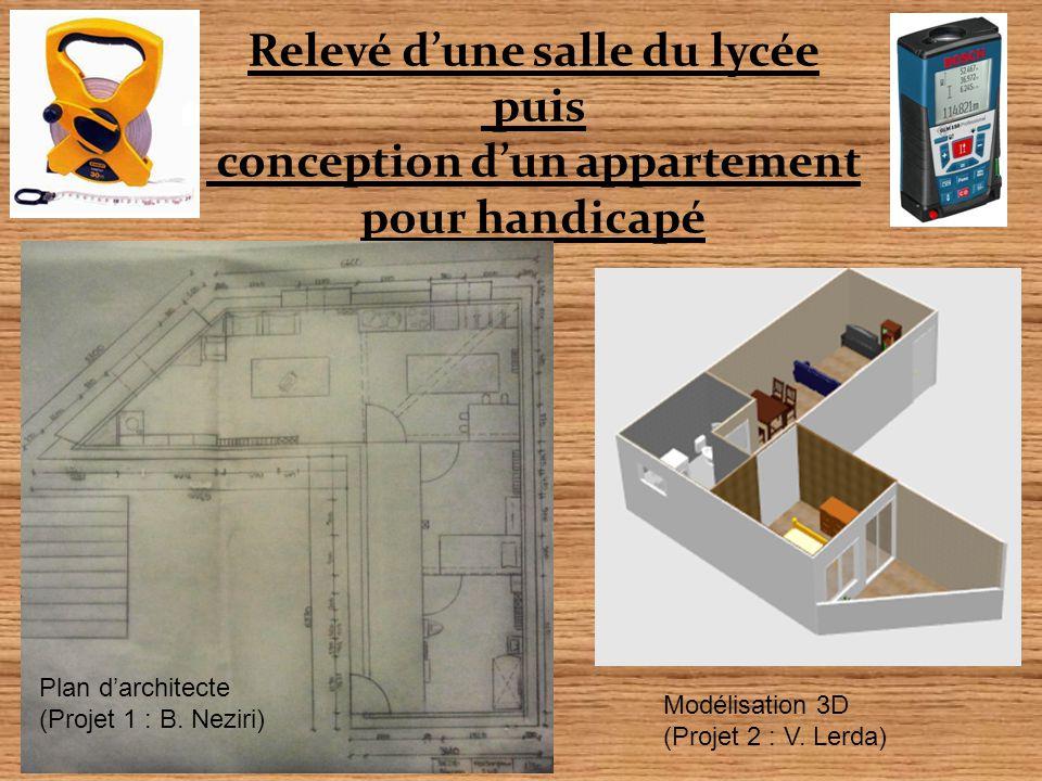 Relevé d'une salle du lycée puis conception d'un appartement pour handicapé Plan d'architecte (Projet 1 : B. Neziri) Modélisation 3D (Projet 2 : V. Le