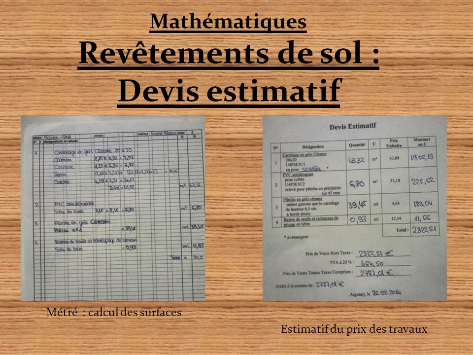 Mathématiques Revêtements de sol : Devis estimatif Métré : calcul des surfaces Estimatif du prix des travaux