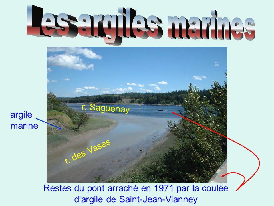 argile marine Restes du pont arraché en 1971 par la coulée d'argile de Saint-Jean-Vianney r. des Vases r. Saguenay