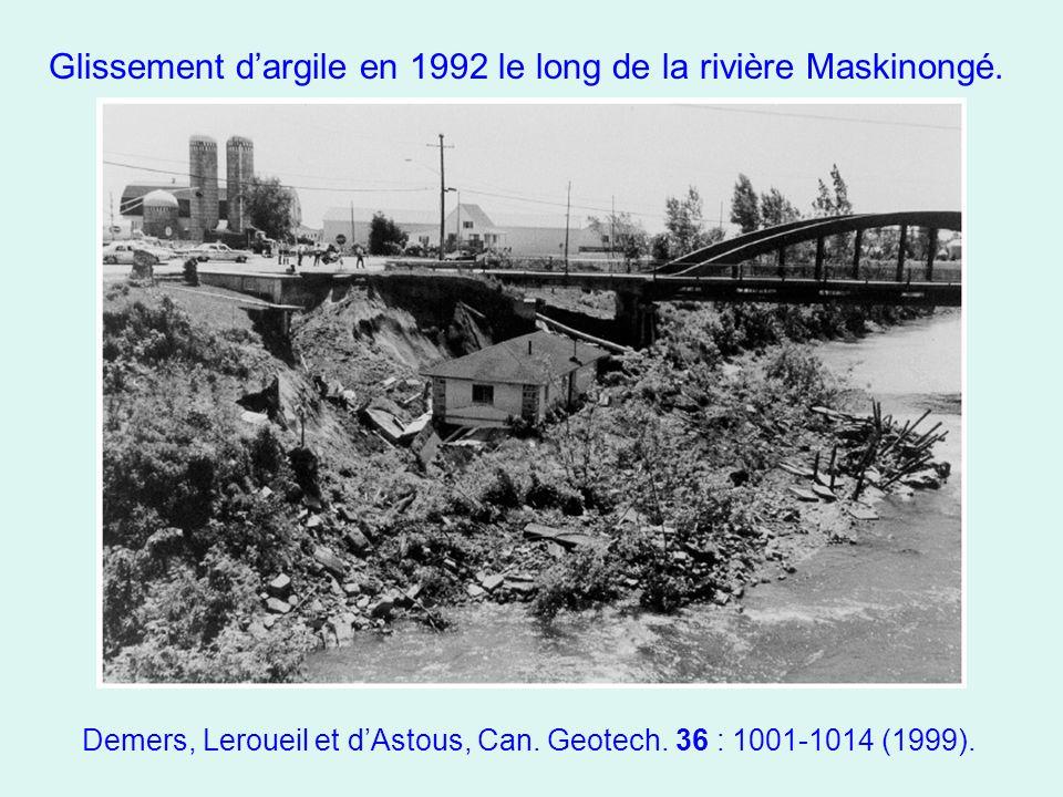 Glissement d'argile en 1992 le long de la rivière Maskinongé. Demers, Leroueil et d'Astous, Can. Geotech. 36 : 1001-1014 (1999).