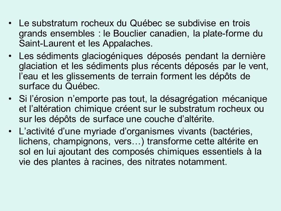 Le substratum rocheux du Québec se subdivise en trois grands ensembles : le Bouclier canadien, la plate-forme du Saint-Laurent et les Appalaches. Les