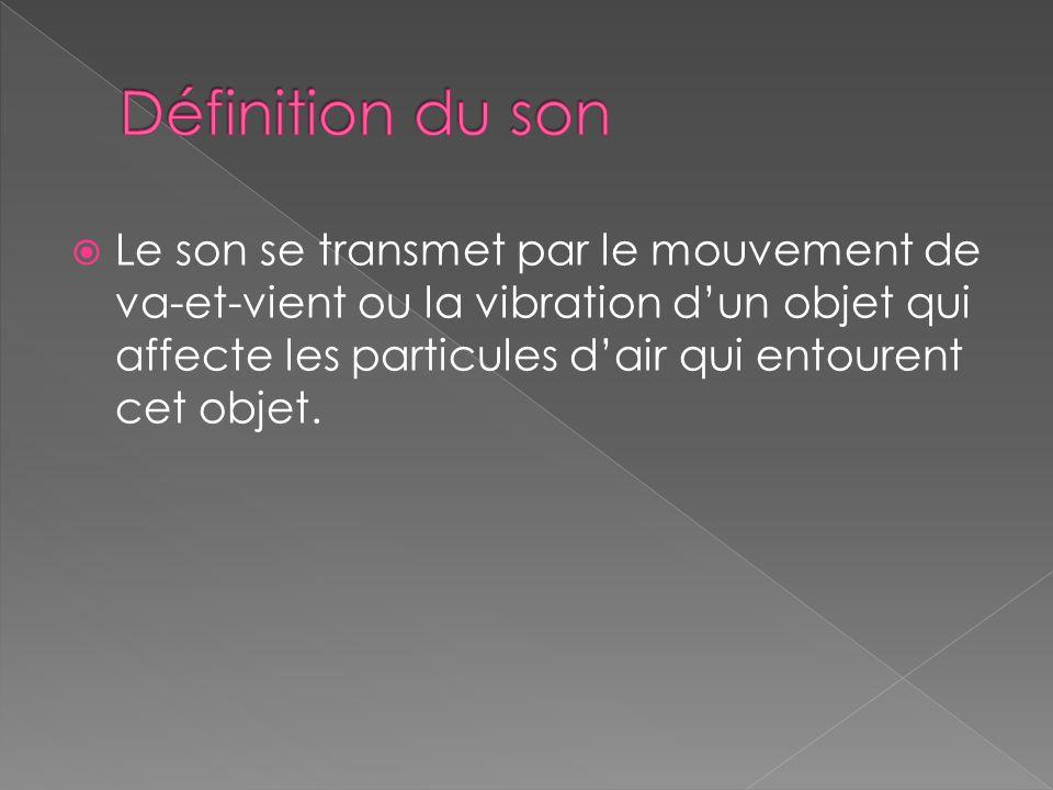  Le son se transmet par le mouvement de va-et-vient ou la vibration d'un objet qui affecte les particules d'air qui entourent cet objet.