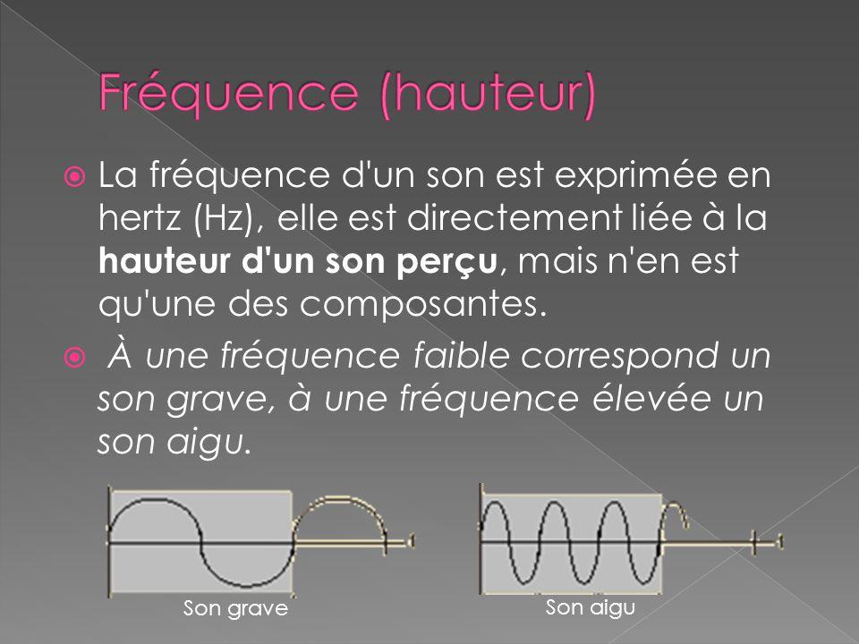  La fréquence d'un son est exprimée en hertz (Hz), elle est directement liée à la hauteur d'un son perçu, mais n'en est qu'une des composantes.  À u