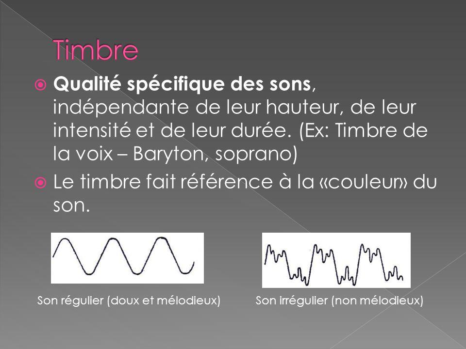  Qualité spécifique des sons, indépendante de leur hauteur, de leur intensité et de leur durée. (Ex: Timbre de la voix – Baryton, soprano)  Le timbr