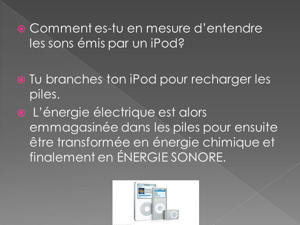  Comment es-tu en mesure d'entendre les sons émis par un iPod?  Tu branches ton iPod pour recharger les piles.  L'énergie électrique est alors emma