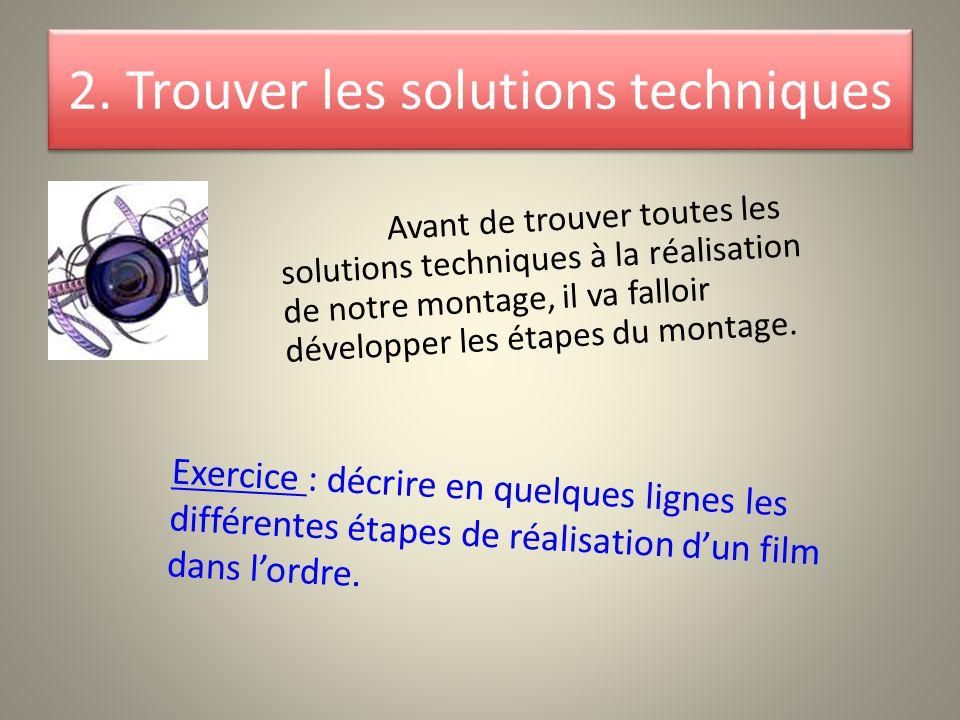 2. Trouver les solutions techniques Avant de trouver toutes les solutions techniques à la réalisation de notre montage, il va falloir développer les é
