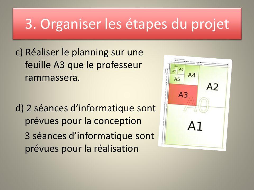 c) Réaliser le planning sur une feuille A3 que le professeur rammassera. d) 2 séances d'informatique sont prévues pour la conception 3 séances d'infor