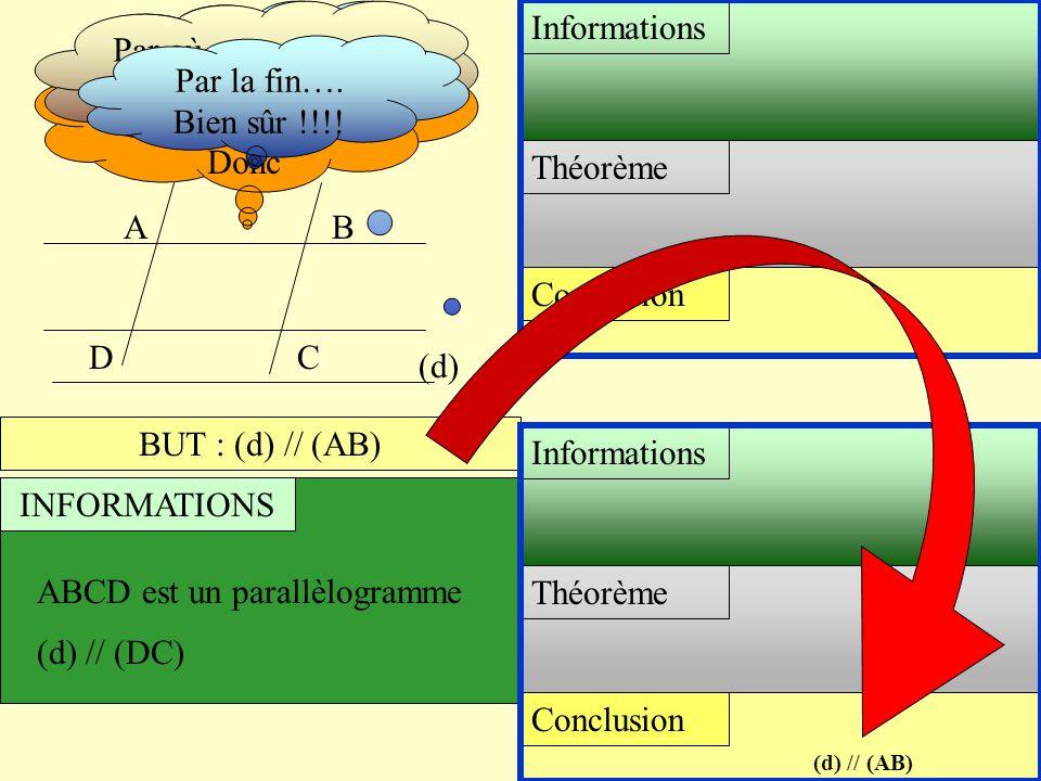 AB (d) CD BUT : (d) // (AB) INFORMATIONS ABCD est un parallèlogramme (d) // (DC) Conclusion Théorème Informations Conclusion Théorème Informations Pro