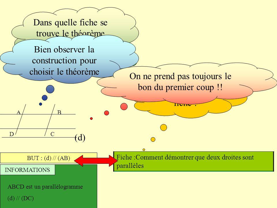 AB (d) CD BUT : (d) // (AB) INFORMATIONS ABCD est un parallèlogramme (d) // (DC) Fiche :Comment démontrer qu'un triangle est isocèle Fiche :Comment dé