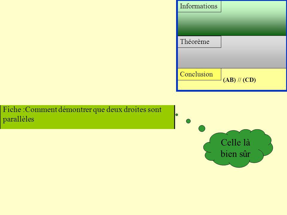 Conclusion Théorème Informations (AB) // (CD) Fiche :Comment démontrer qu'un triangle est isocèle Fiche :Comment démontrer que deux distances sont éga