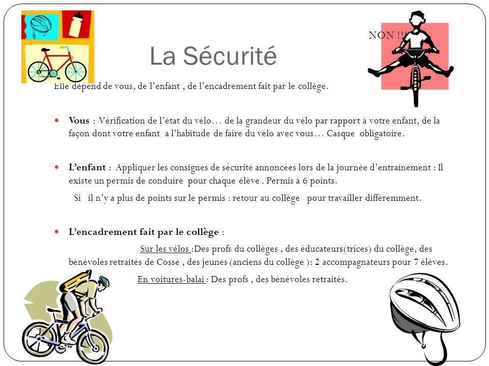 REGLEMENT VELO C est un parcours à faire en vélo, en groupe de 7 élèves, accompagnés de deux adultes.
