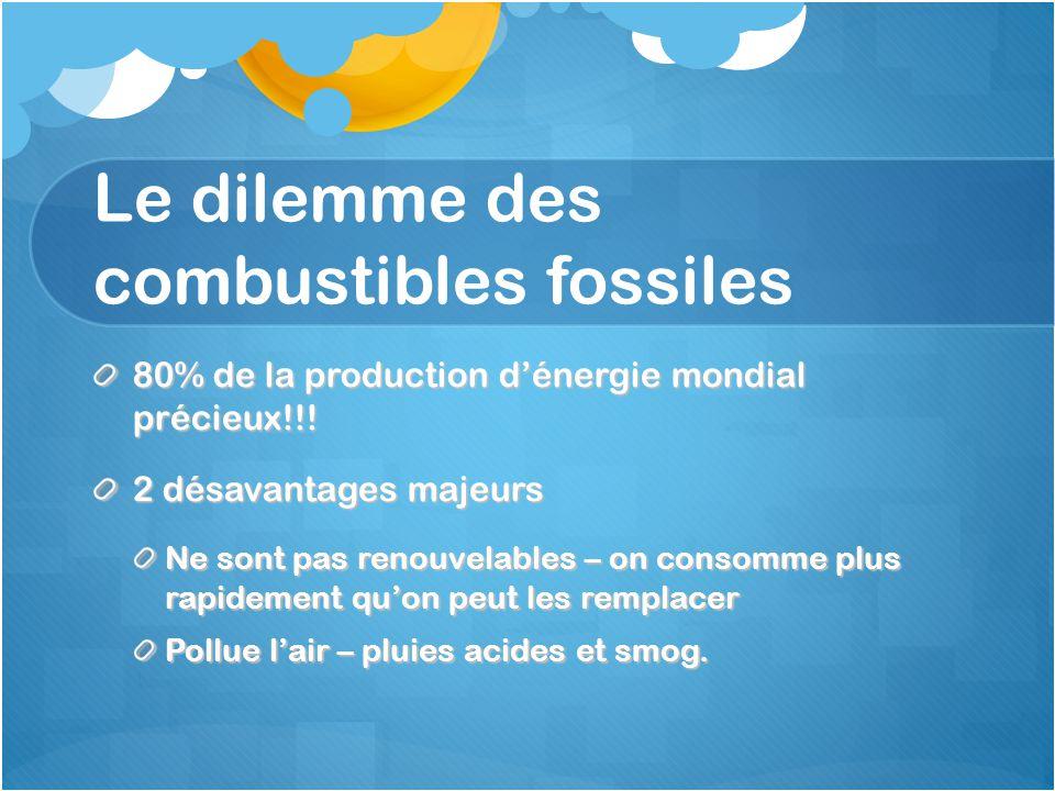 Le dilemme des combustibles fossiles 80% de la production d'énergie mondial précieux!!! 2 désavantages majeurs Ne sont pas renouvelables – on consomme