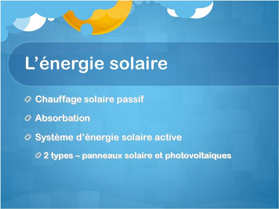 L'énergie solaire Chauffage solaire passif Absorbation Système d'énergie solaire active 2 types – panneaux solaire et photovoltaïques