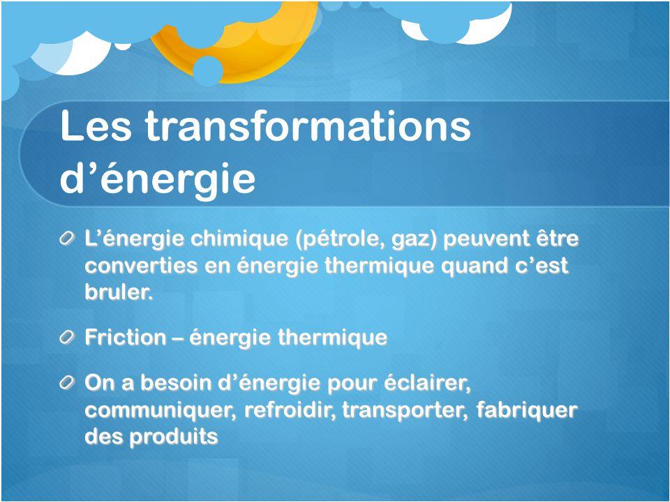 Les transformations d'énergie L'énergie chimique (pétrole, gaz) peuvent être converties en énergie thermique quand c'est bruler. Friction – énergie th