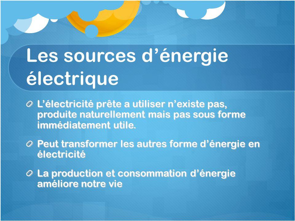 Les sources d'énergie électrique L'électricité prête a utiliser n'existe pas, produite naturellement mais pas sous forme immédiatement utile. Peut tra